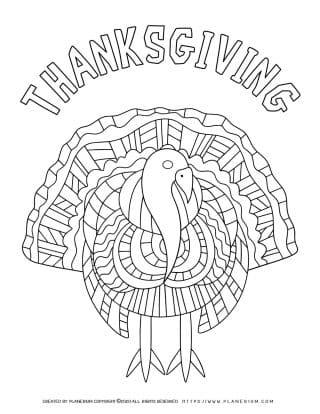 Thanksgiving Turkey - Coloring Page | Planerium
