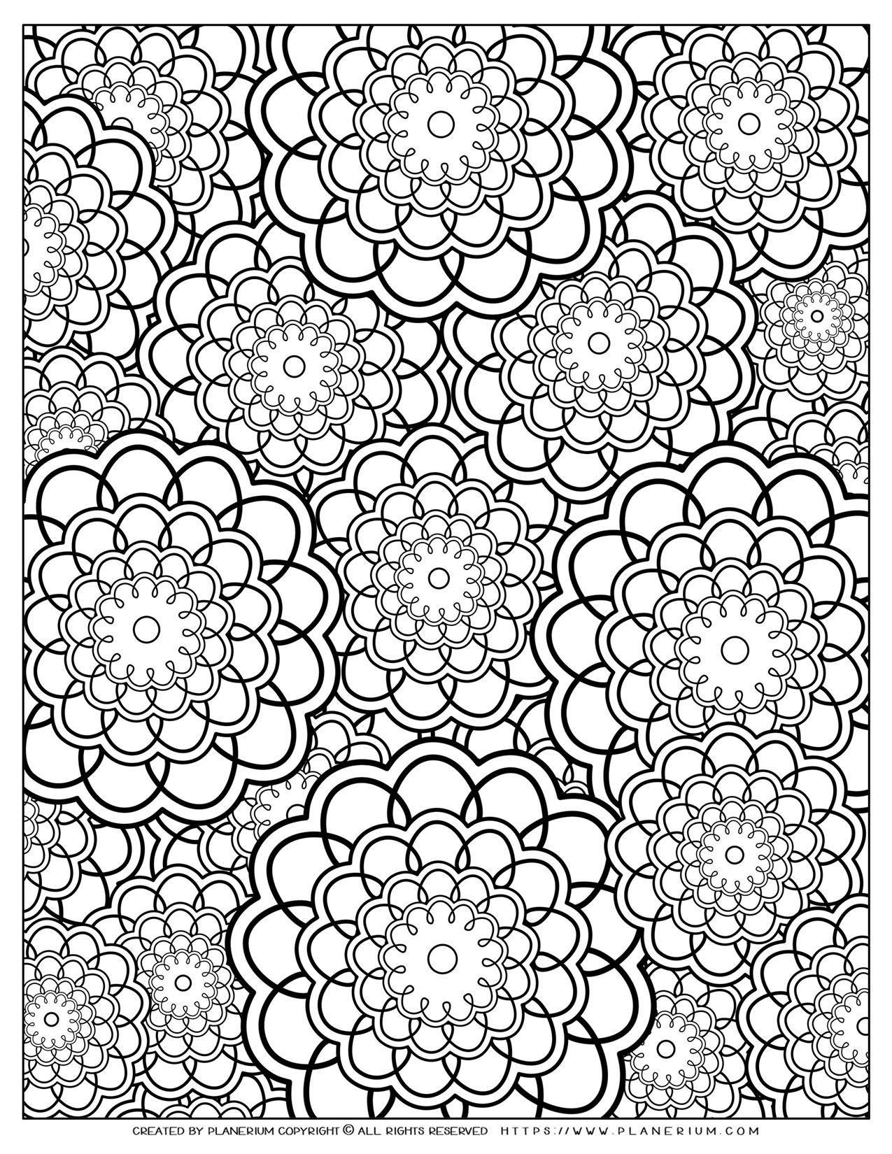 Adult Coloring Pages with Flowers Circles Layers | Planerium