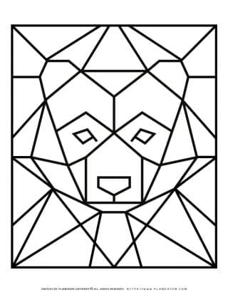 Adult Coloring Pages - Geometric Animals - Bear - Free Printable | Planerium