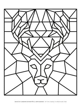 Adult Coloring Pages - Geometric Animals - Deer - Free Printable | Planerium