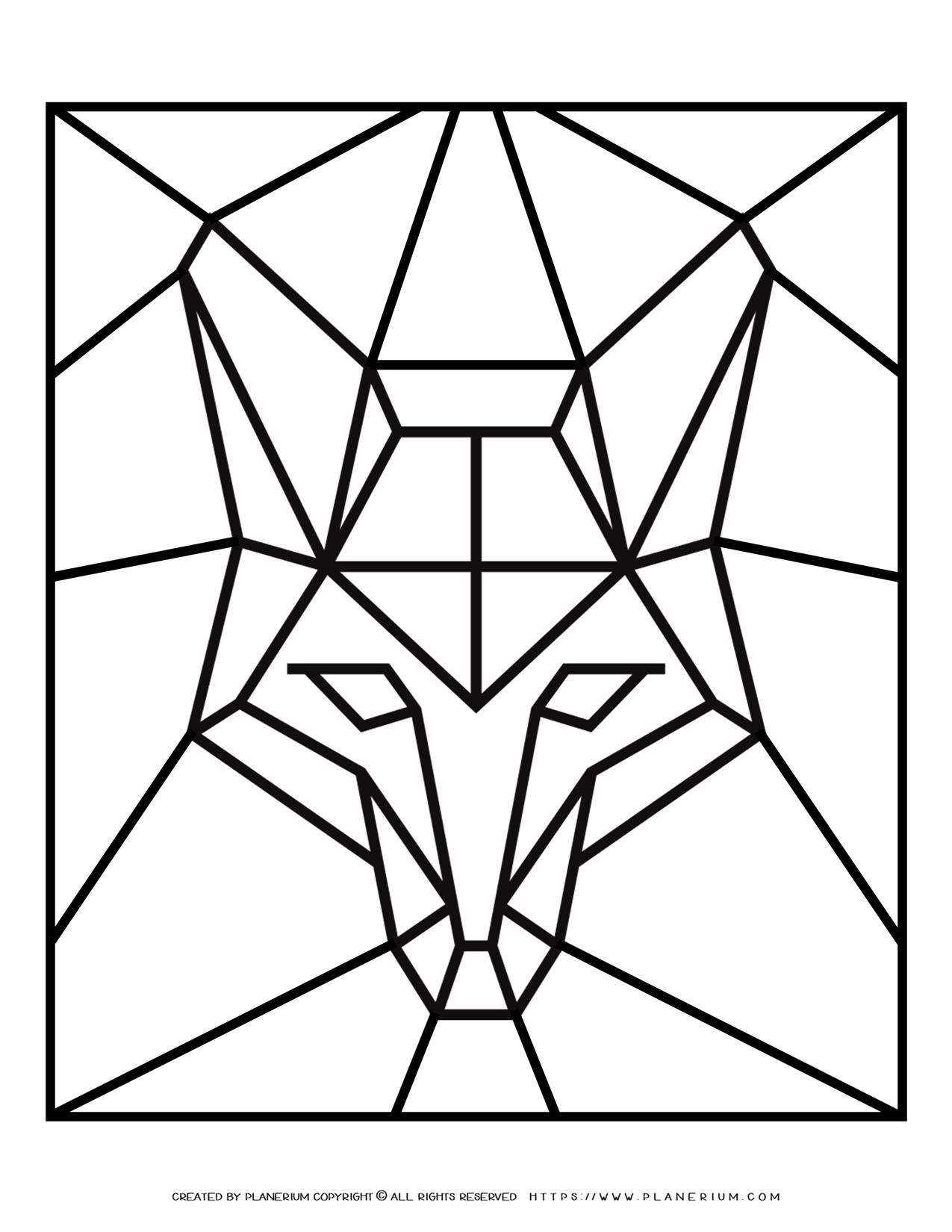 Adult Coloring Pages - Geometric Animals - Fox - Free Printable | Planerium