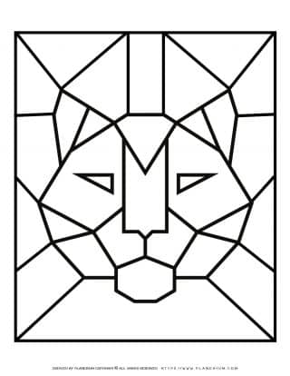 Adult Coloring Pages - Geometric Animals - Tiger - Free Printable   Planerium