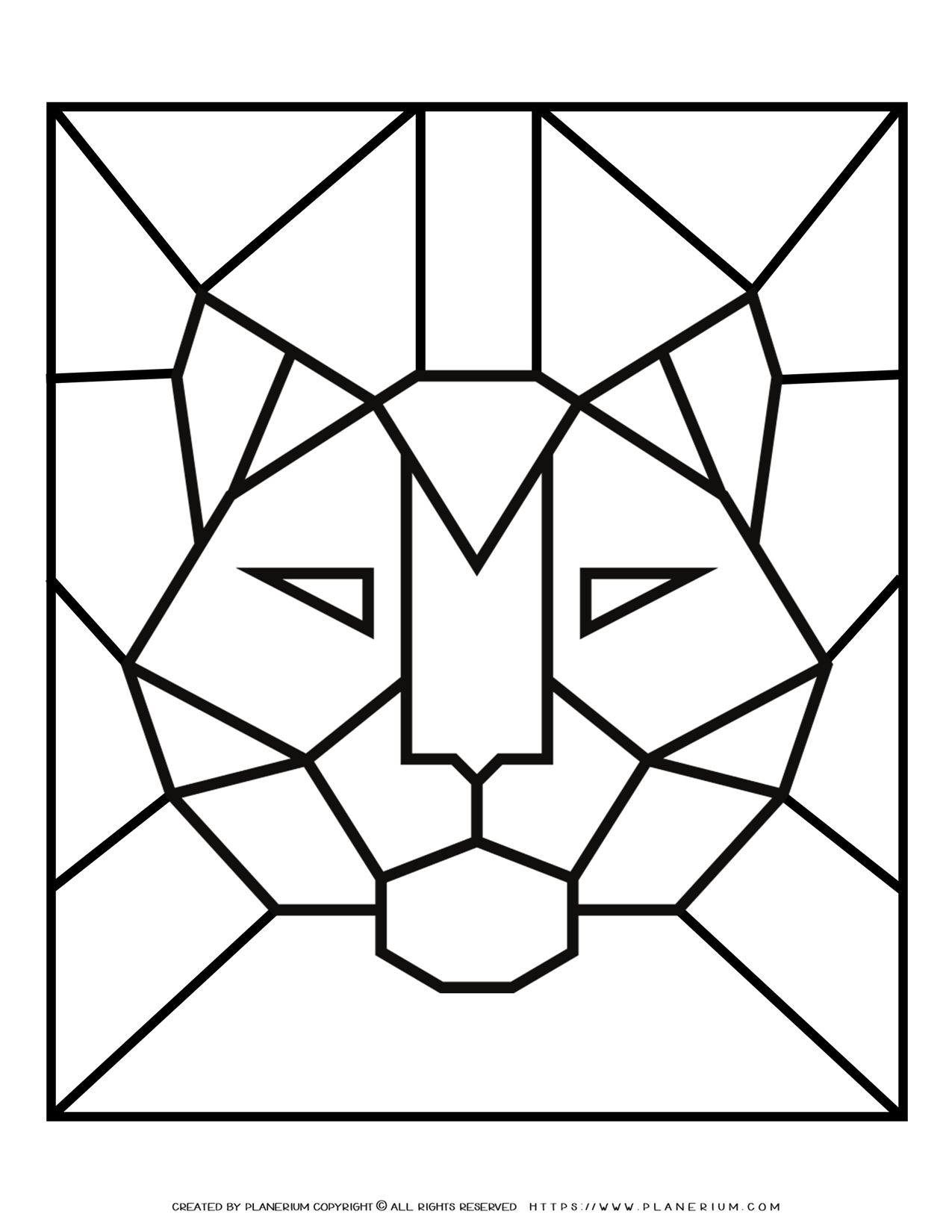 Adult Coloring Pages - Geometric Animals - Tiger - Free Printable | Planerium