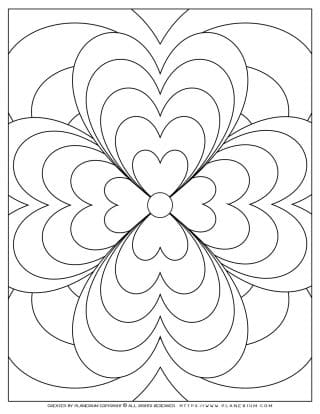 Adult Coloring Pages with Geometric Flowers Hearts | Planerium