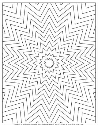 Adult Coloring Pages with Geometric Nested Star Shapes | Planerium