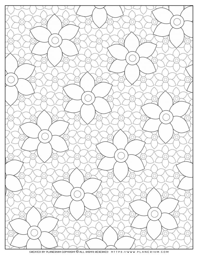 Adult Coloring Pages with Large flowers on Small | Planerium