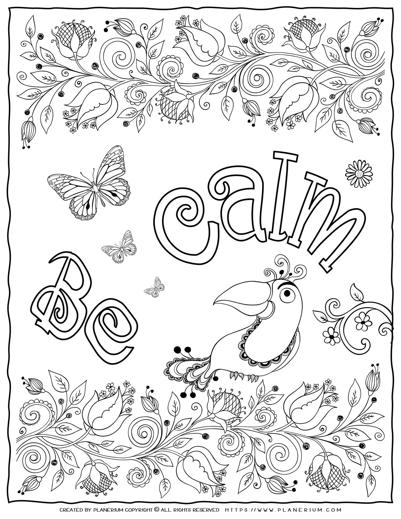 Adult Coloring Pages - Mindfulness Be Calm | Planerium