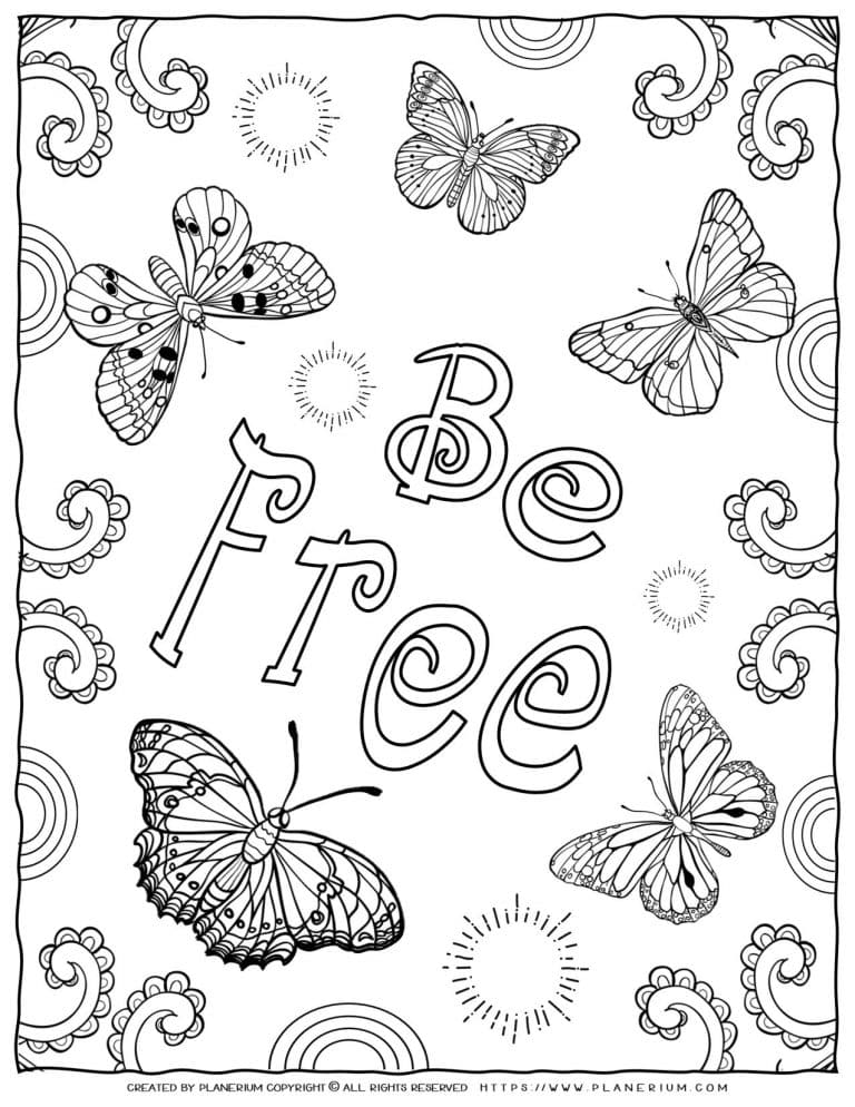 Adult Coloring Pages - Mindfulness Be Free | Planerium