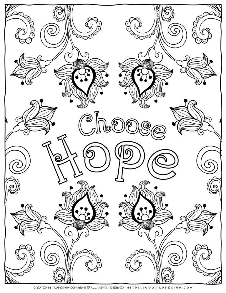 Adult Coloring Pages - Mindfulness Choose Hope | Planerium