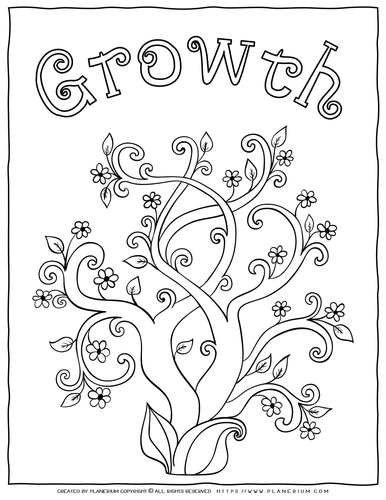 Adult Coloring Pages - Mindfulness Growth | Planerium