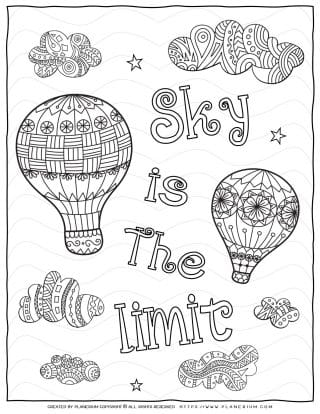 Adult Coloring Pages - Mindfulness The sky's the limit | Planerium