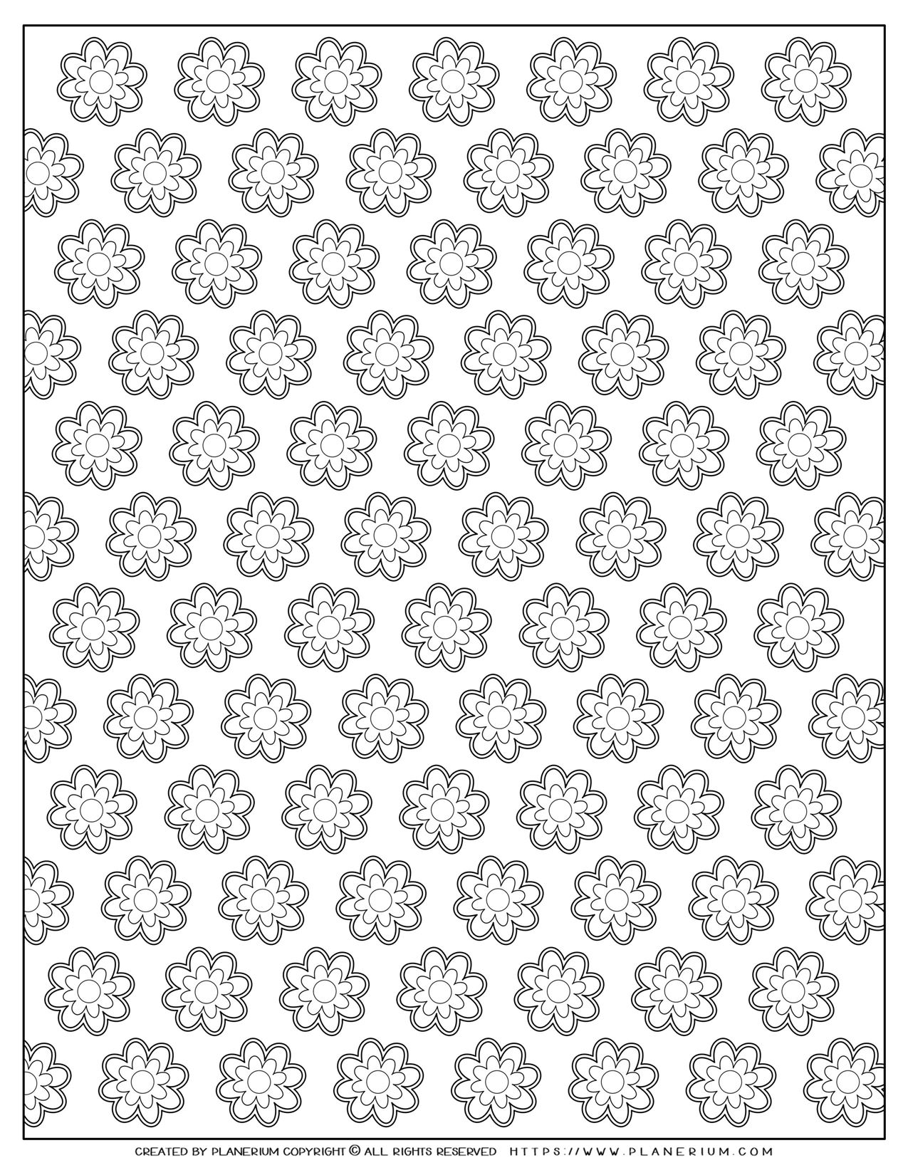 Adult Coloring Pages with Nested Flowers Pattern | Planerium