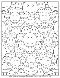 Adult Coloring Pages with Smiley Faces | Planerium