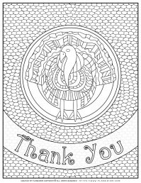 Adult Coloring Pages - Thank You Turkey - Free Printable | Planerium