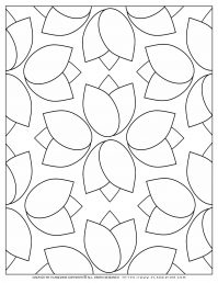 Adult Coloring Pages with Tulips Pattern | Planerium