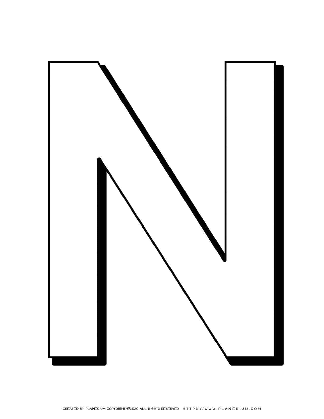 Alphabet Coloring Page - English Letter N Capital   Planerium