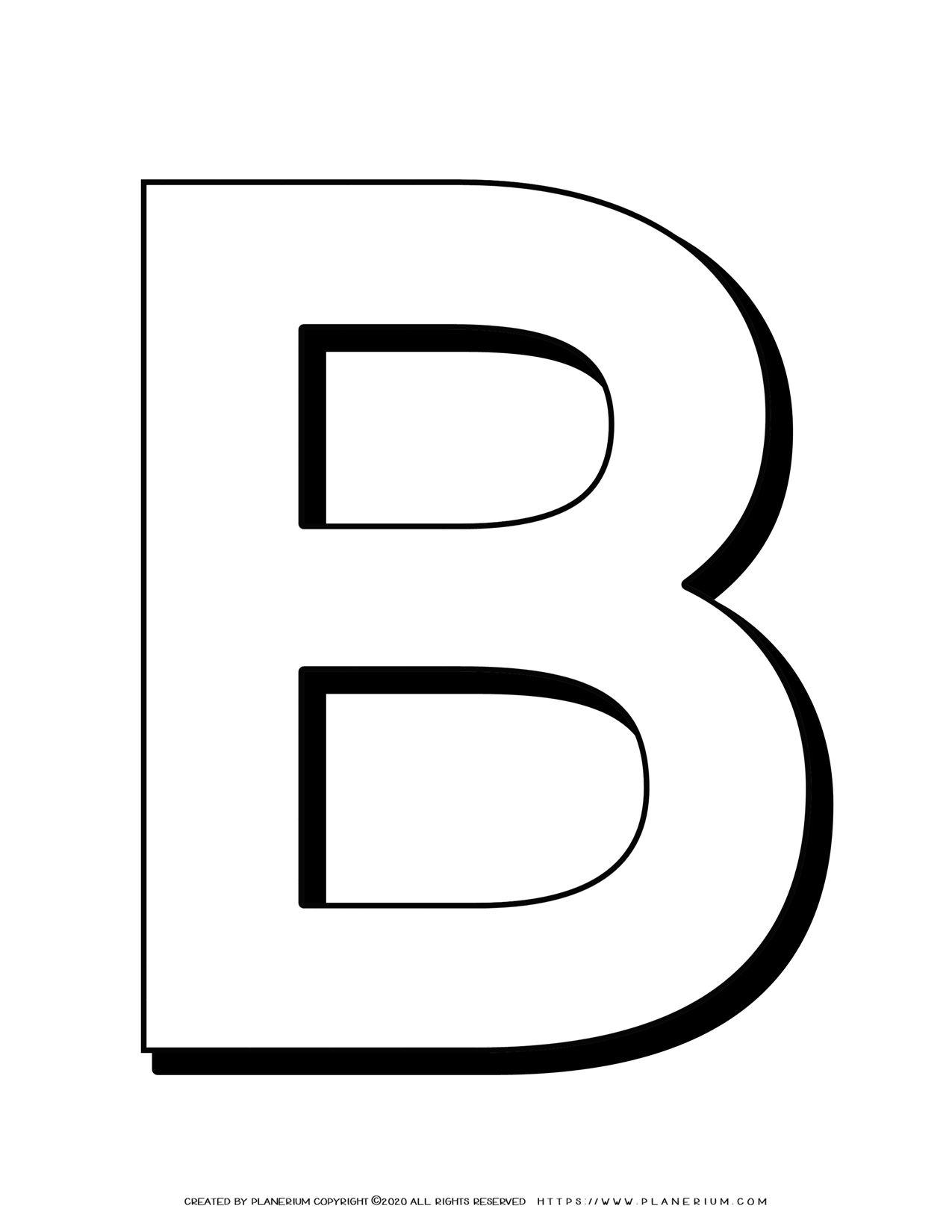Alphabet Coloring Pages - English Letters - Capital B | Planerium