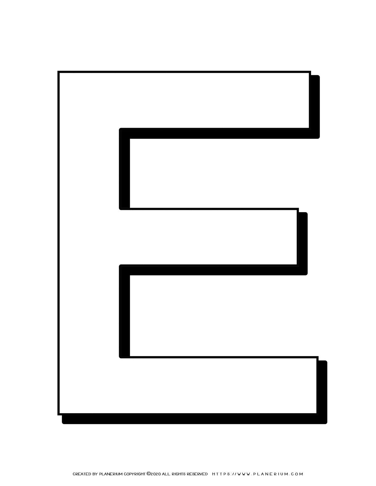 Alphabet Coloring Pages - English Letters - Capital E   Planerium