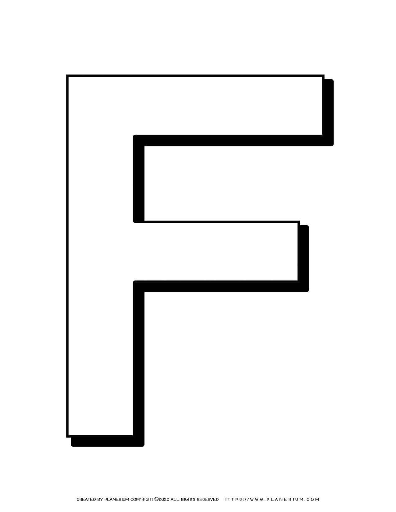 Alphabet Coloring Pages - English Letters - Capital F   Planerium