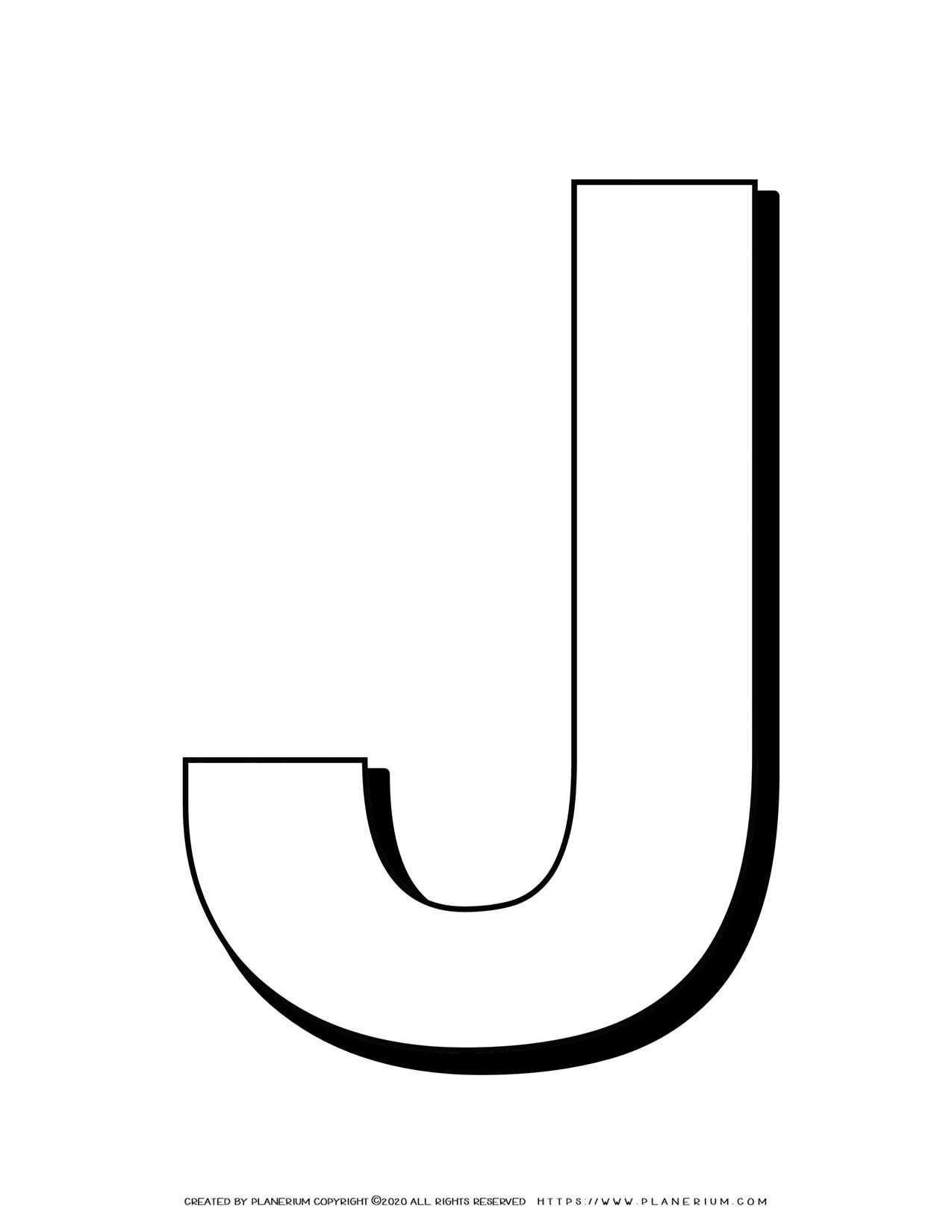 Alphabet Coloring Pages - English Letters - Capital J | Planerium