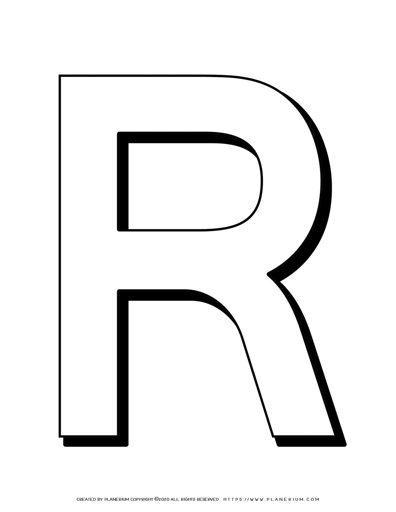 Alphabet Coloring Pages - English Letters - Capital R | Planerium