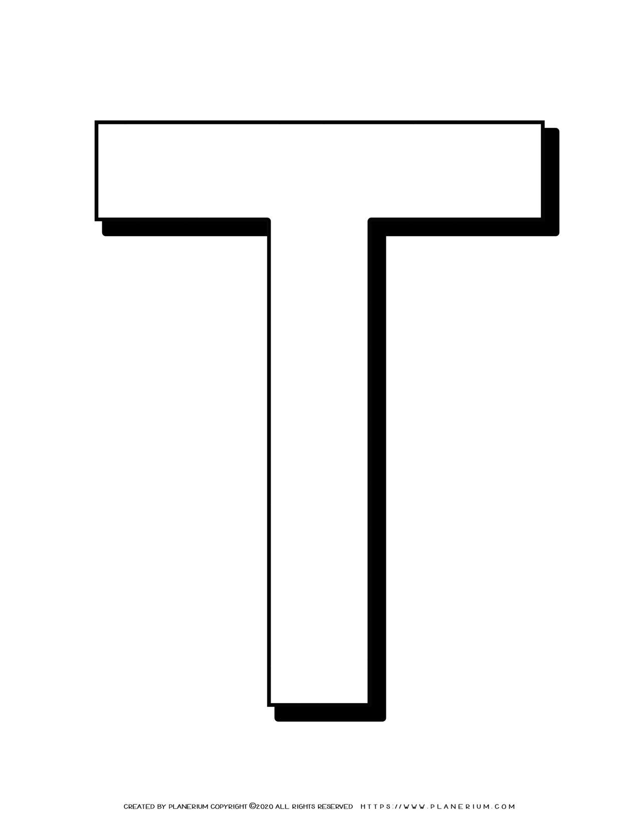 Alphabet Coloring Pages - English Letters - Capital T | Planerium