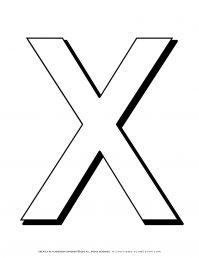 Alphabet Coloring Pages - English Letters - Capital X | Planerium