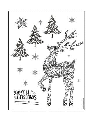 Christmas Coloring Pages - Merry Christmas Card - Deer and Pine Trees | Planerium