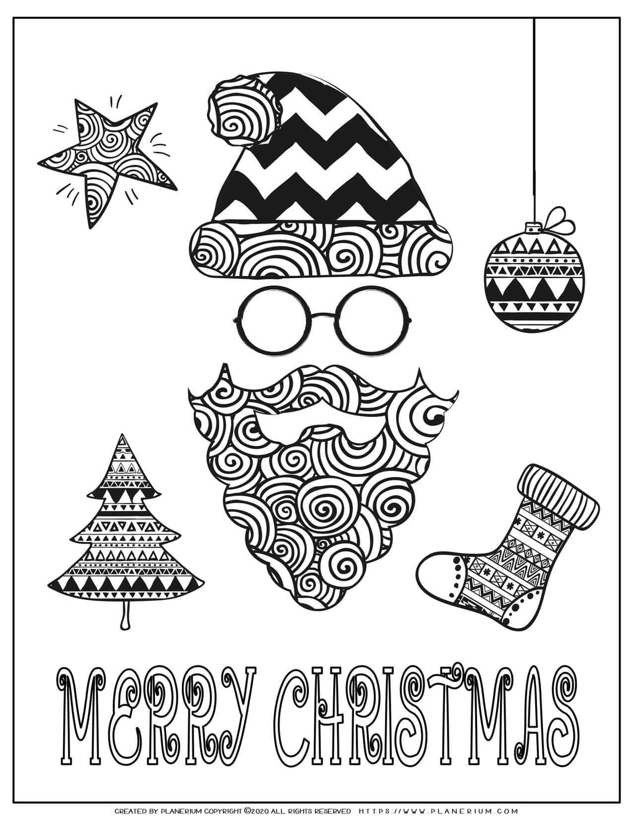 Christmas Coloring Pages - Merry Christmas Poster - Santa | Planerium
