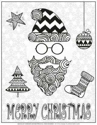 Christmas Coloring Pages - Merry Christmas Poster - Santa and Snowflakes | Planerium