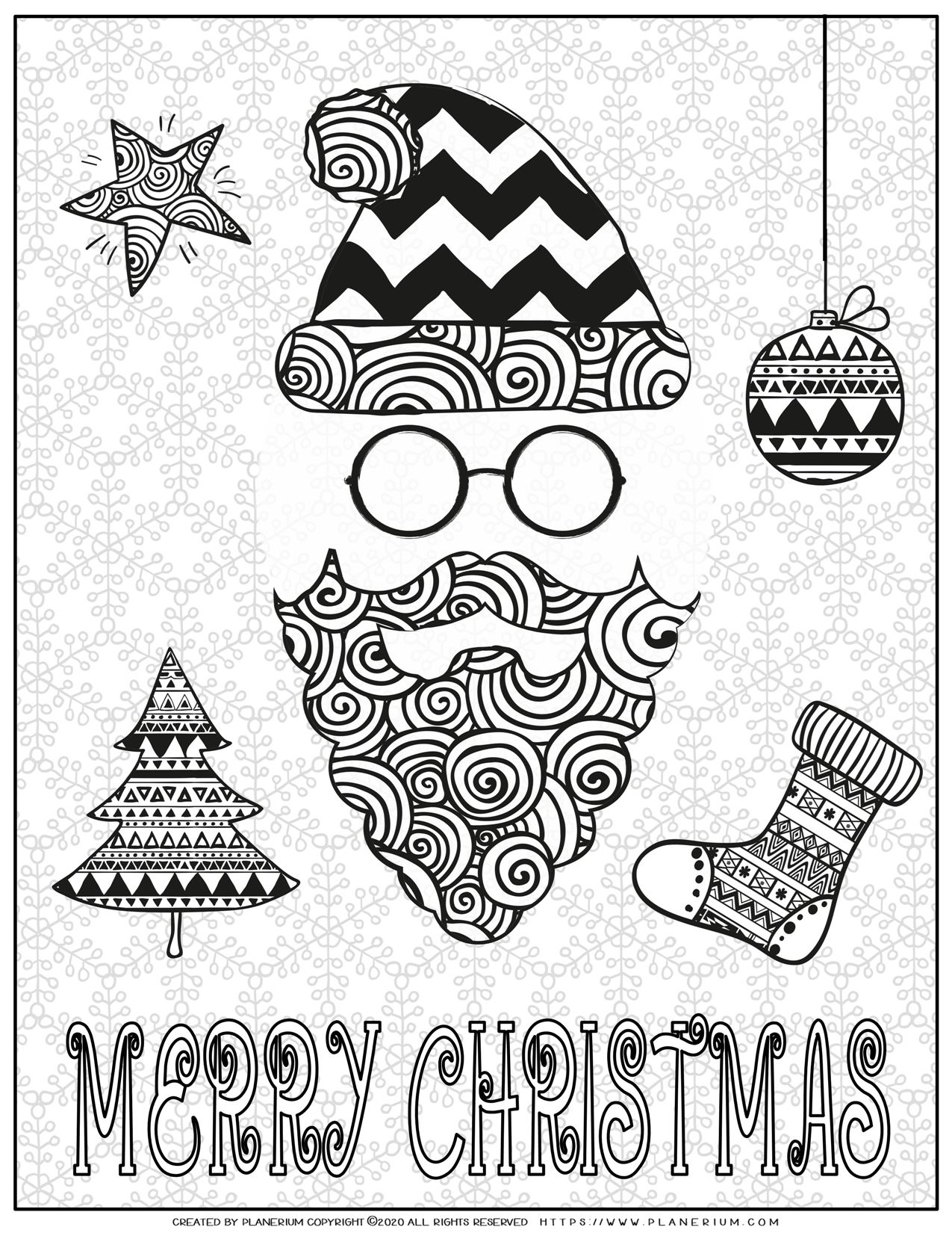 Christmas Coloring Pages - Merry Christmas Poster - Santa and Snowflakes   Planerium