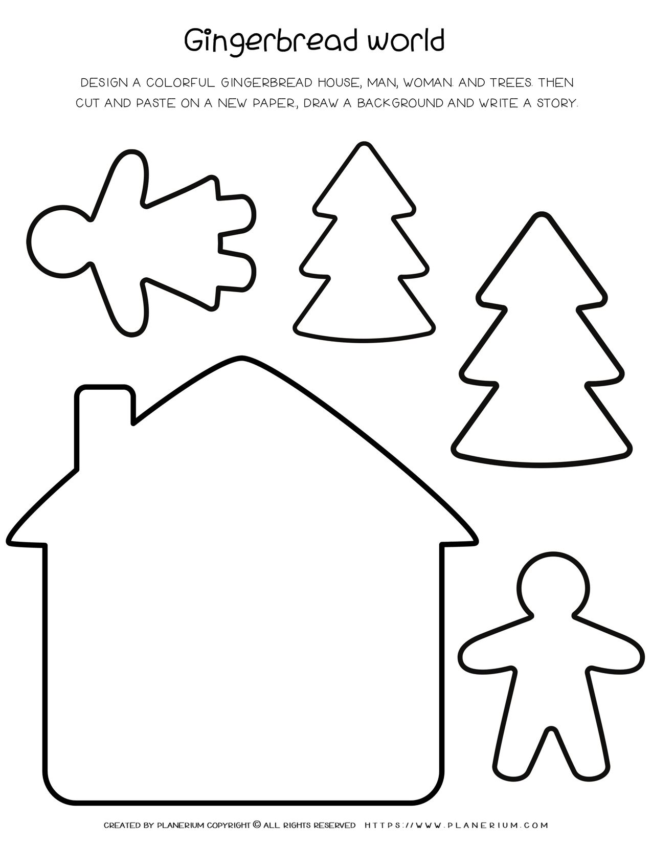 Christmas Worksheet - Gingerbread World Design and Writing Activity | Planerium