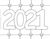 New Year Coloring Pages - 2021 - Star Grid background | Planerium