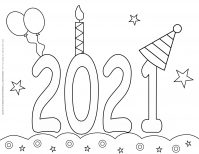 New Year Coloring Pages - 2021 - Decorated Title | Planerium