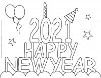 New Year Coloring Pages - 2021 - Happy New Year | Planerium