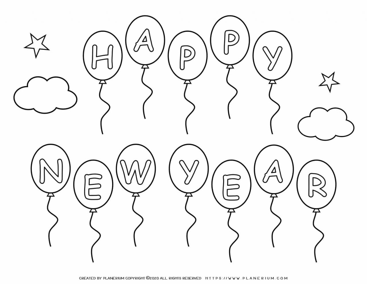 New Year Coloring Pages - Happy New Year Balloons | Planerium