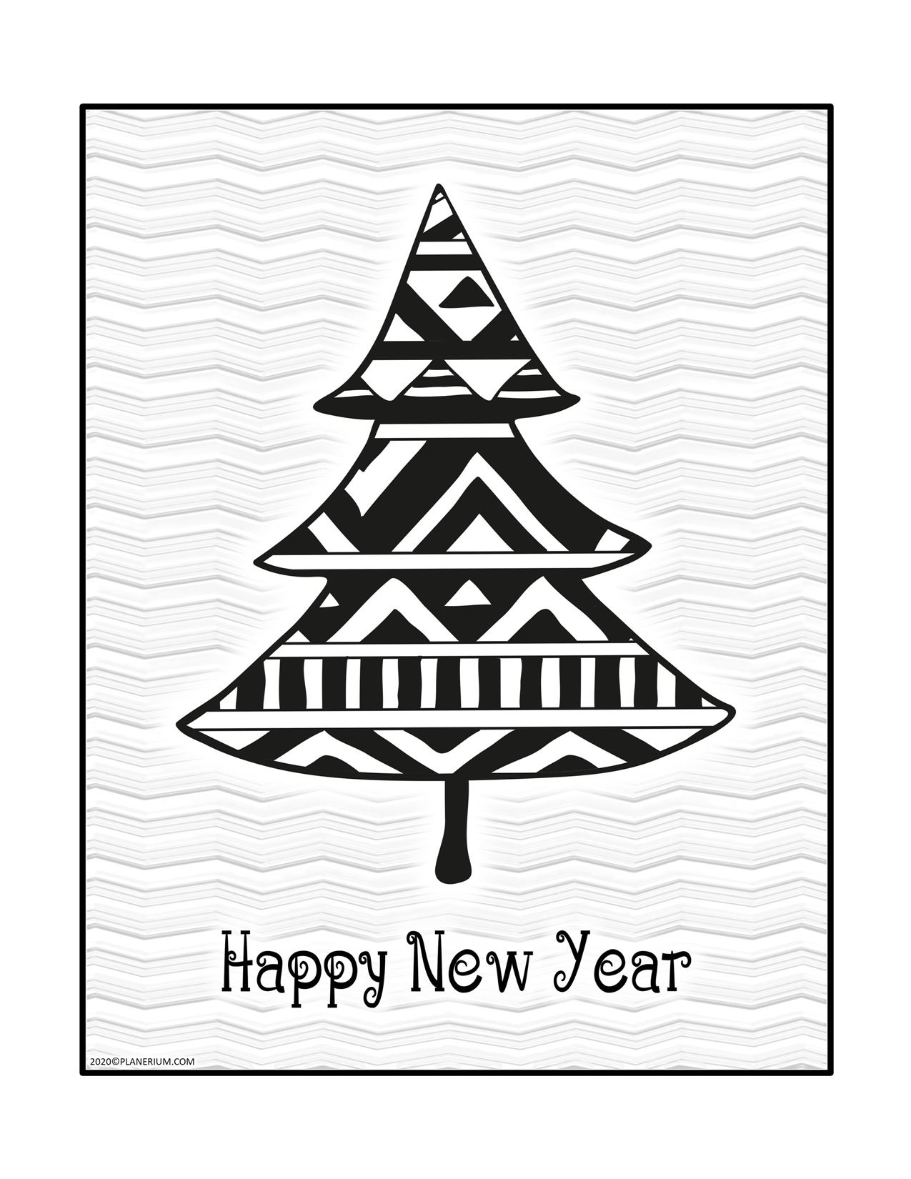Happy New Year Coloring Pages - Pattern on a Pine Tree - Greeting Card | Planerium