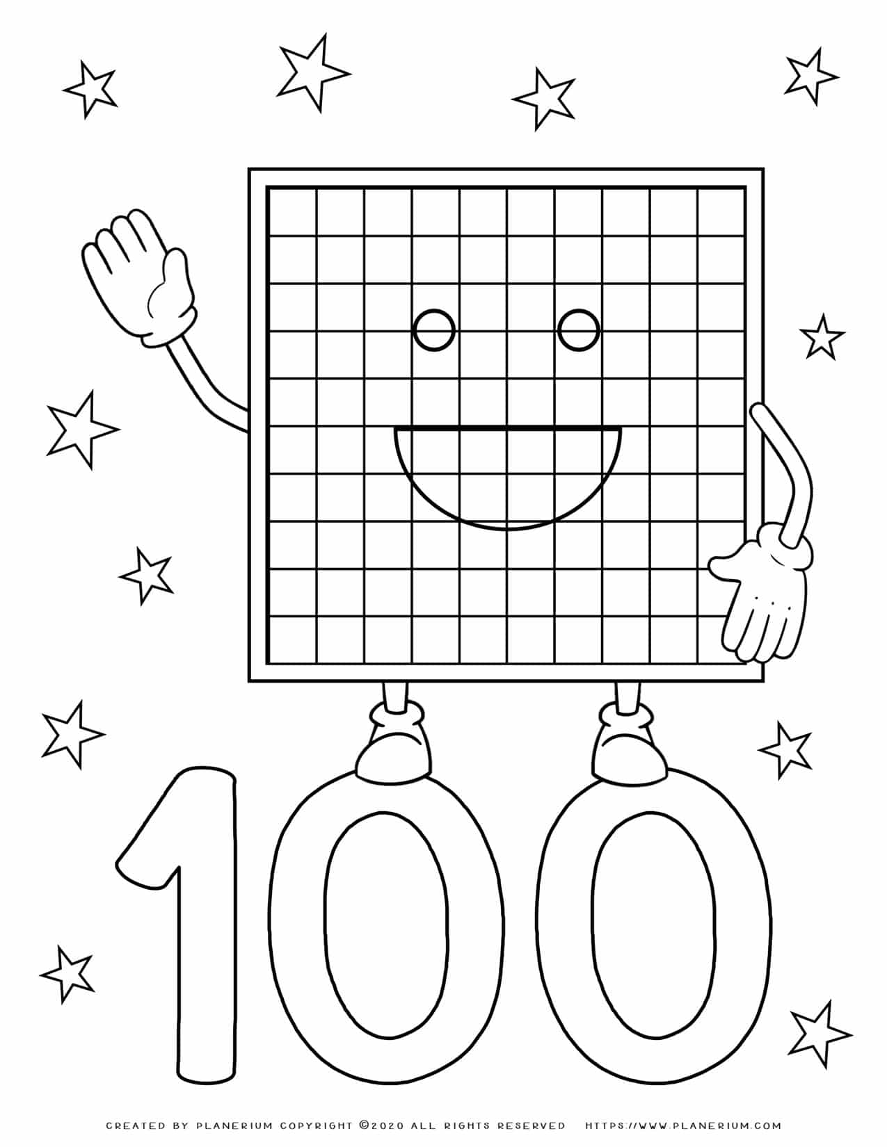 Numbers Coloring Pages 100 | Planerium