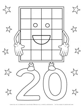 Numbers Coloring Pages - Number 20 | Planerium