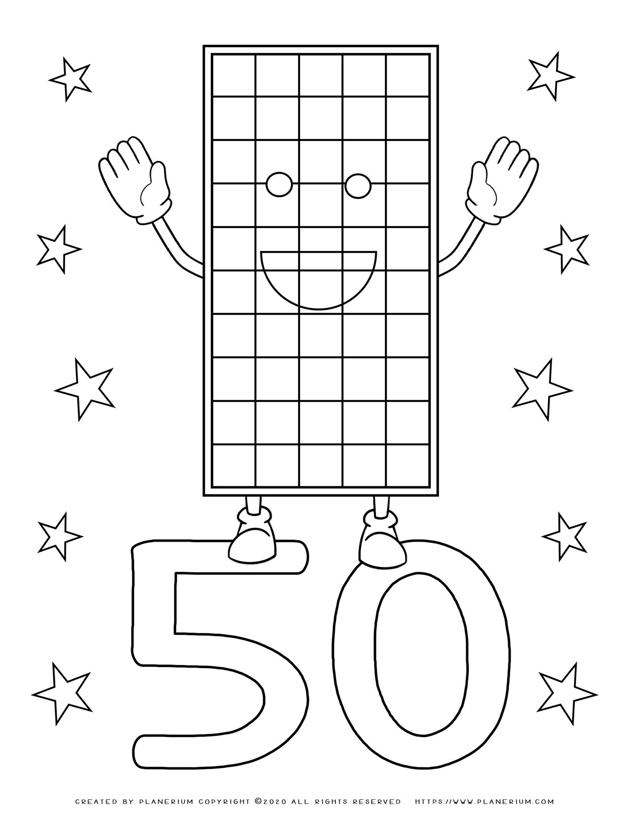 Numbers Coloring Pages 50 | Planerium