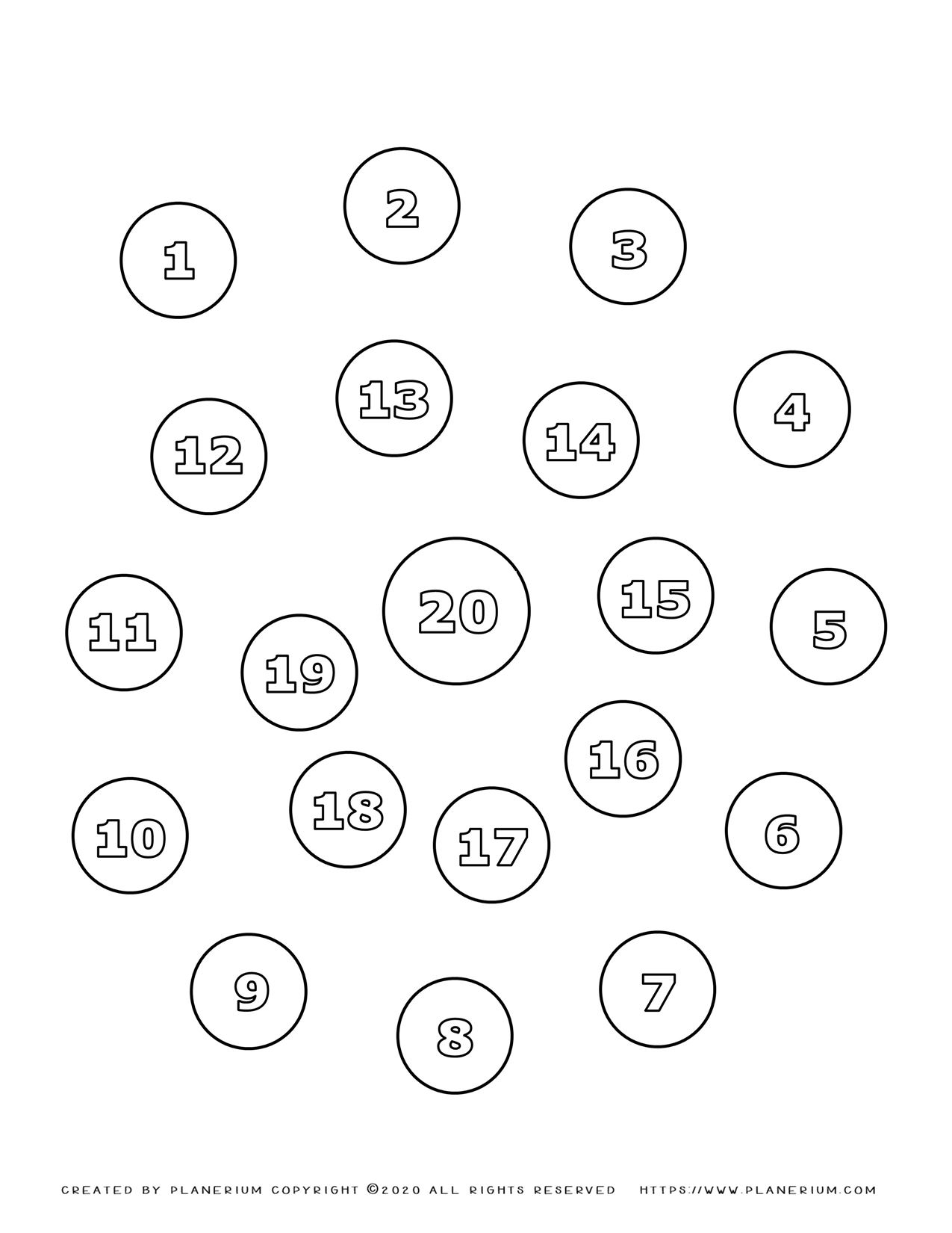 Numbers Coloring Pages 1-20 In Spiral | Planerium