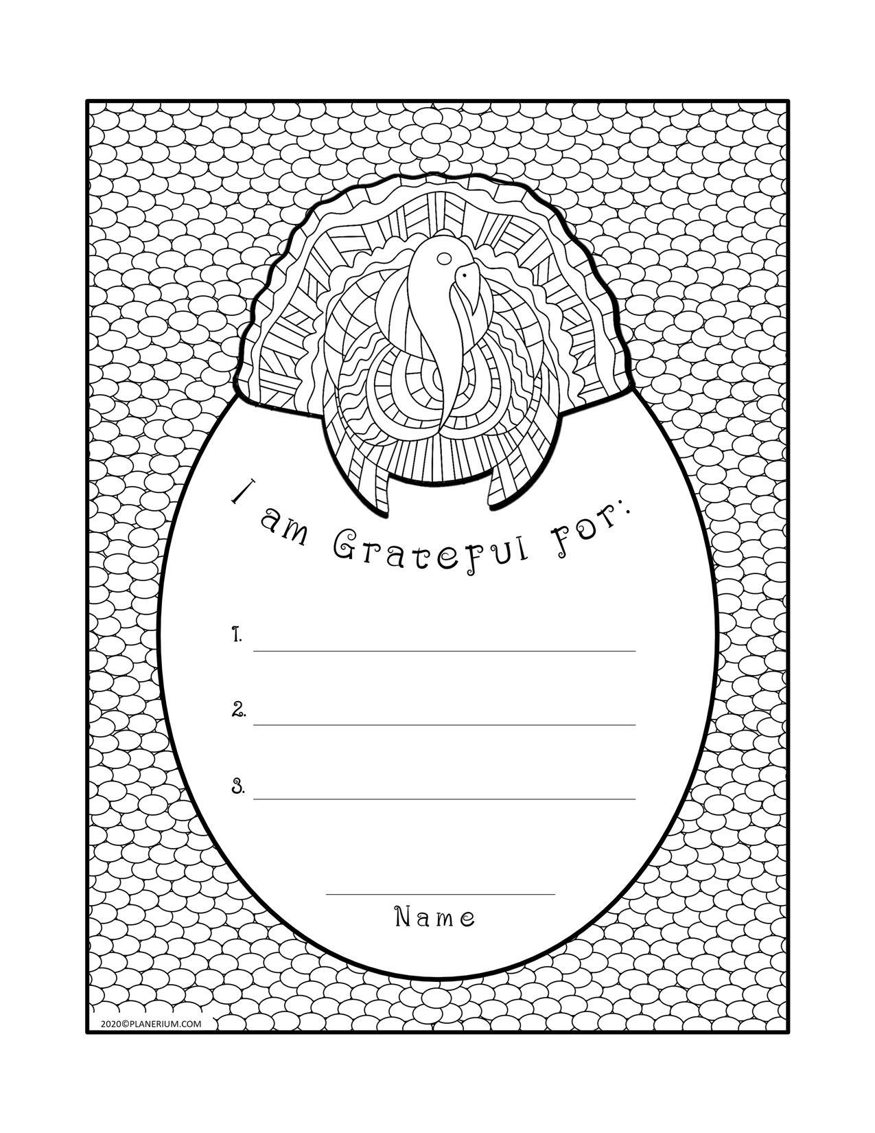 Thanksgiving Worksheets - Grateful List Card | Planerium