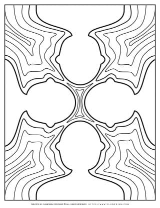 Adult Coloring Pages - Four White Figures on Shallow Water | Planerium