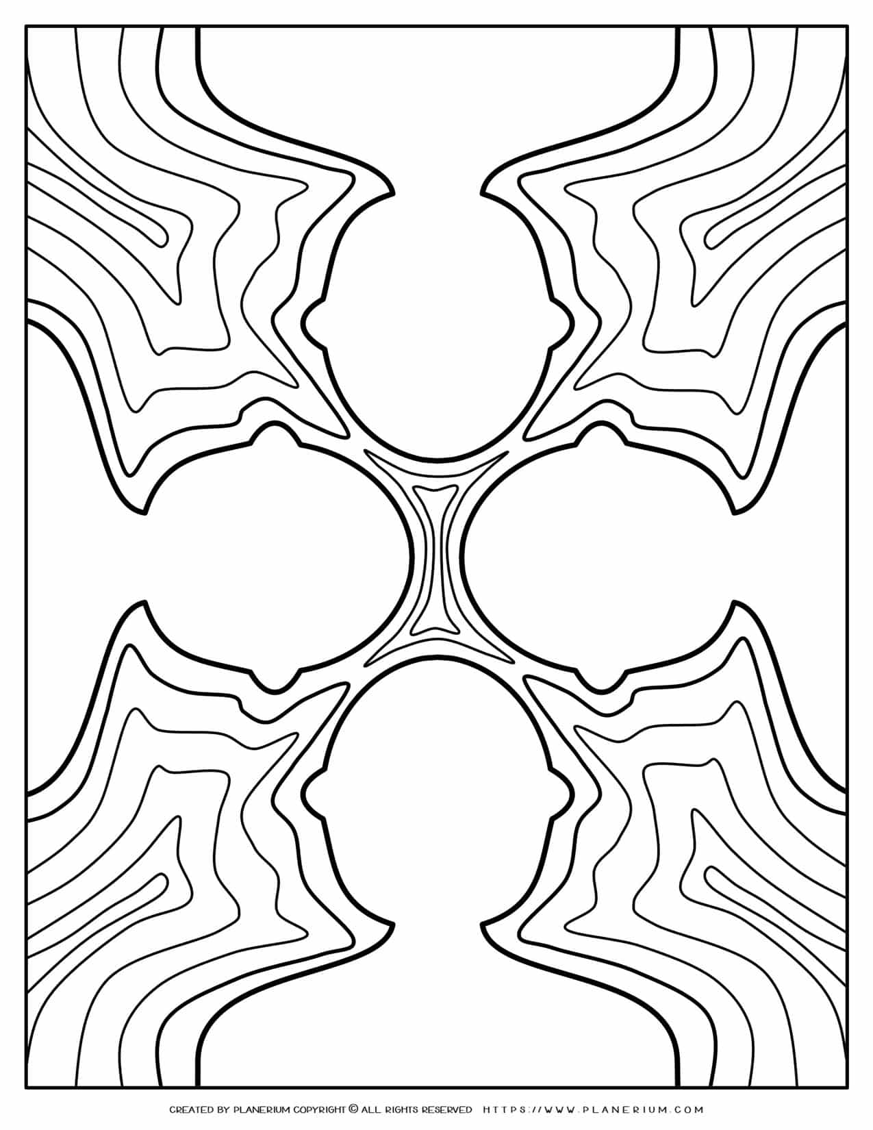 Adult Coloring Pages - Four White Figures on Shallow Water   Planerium