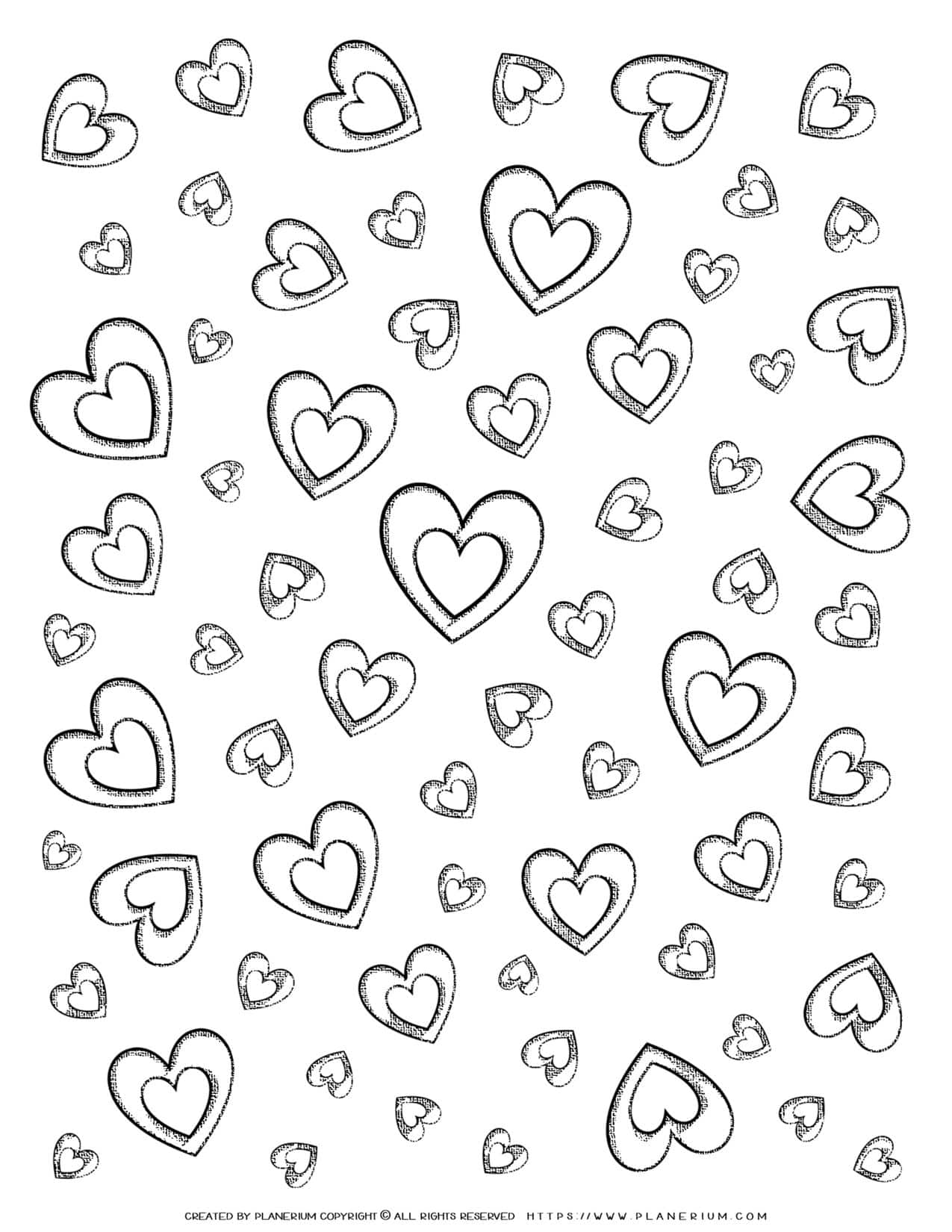 Adult Coloring Pages - Hearts | Planerium