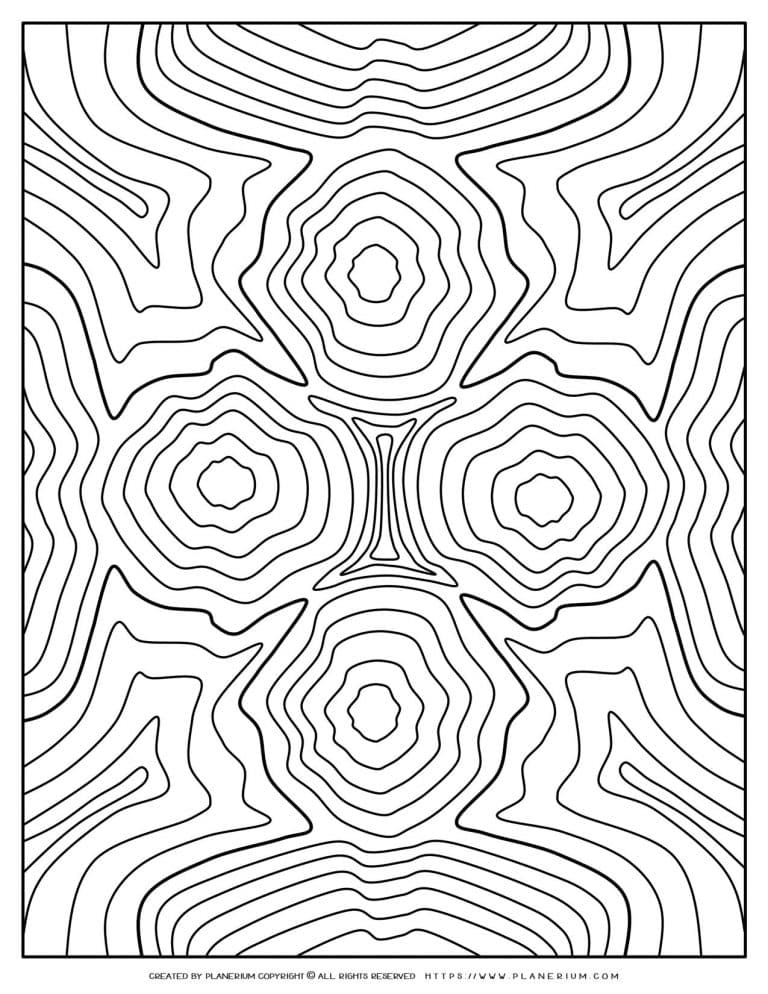 Adult Coloring Pages - Ripples of Four Figures | Planerium