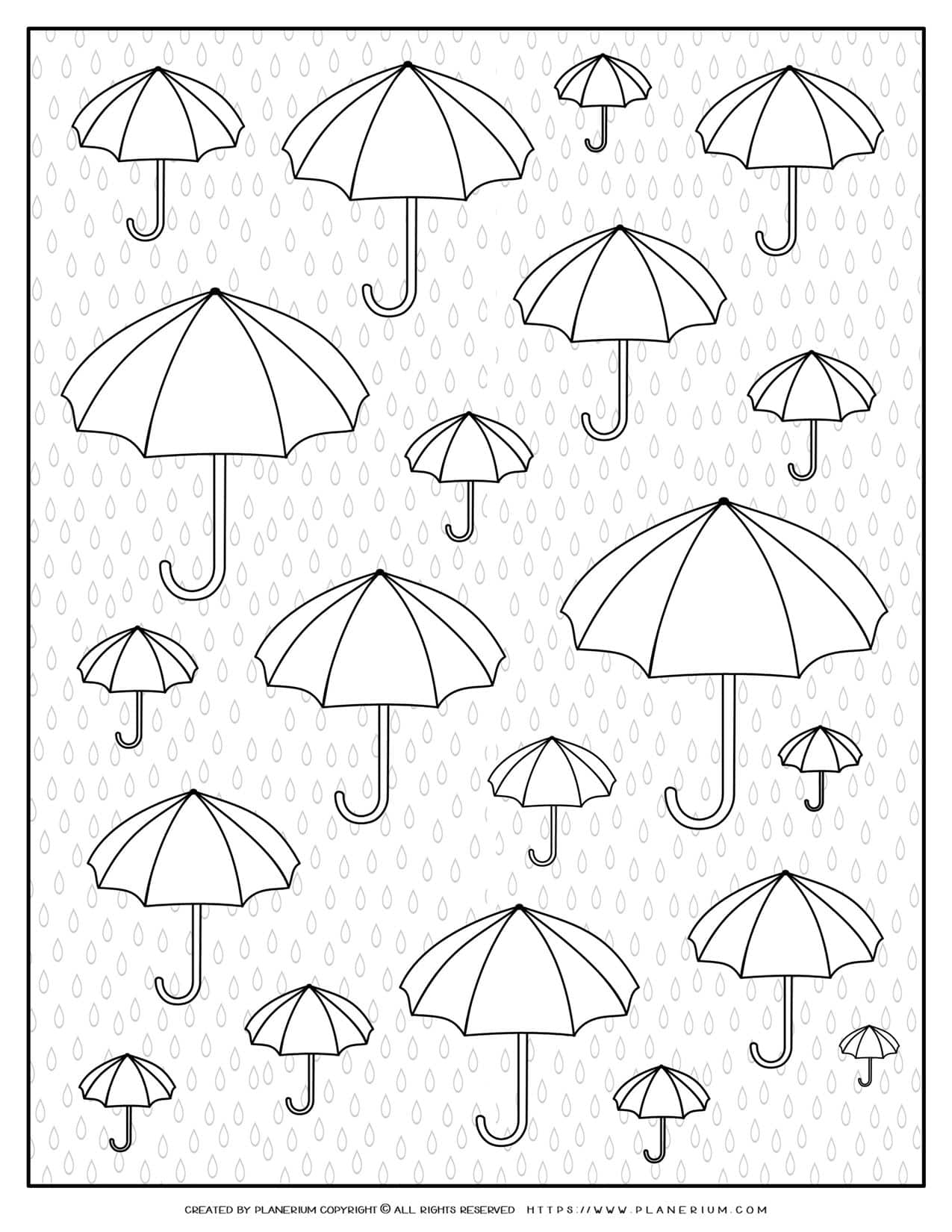 Adult Coloring Pages - Umbrellas and Raindrops | Planerium