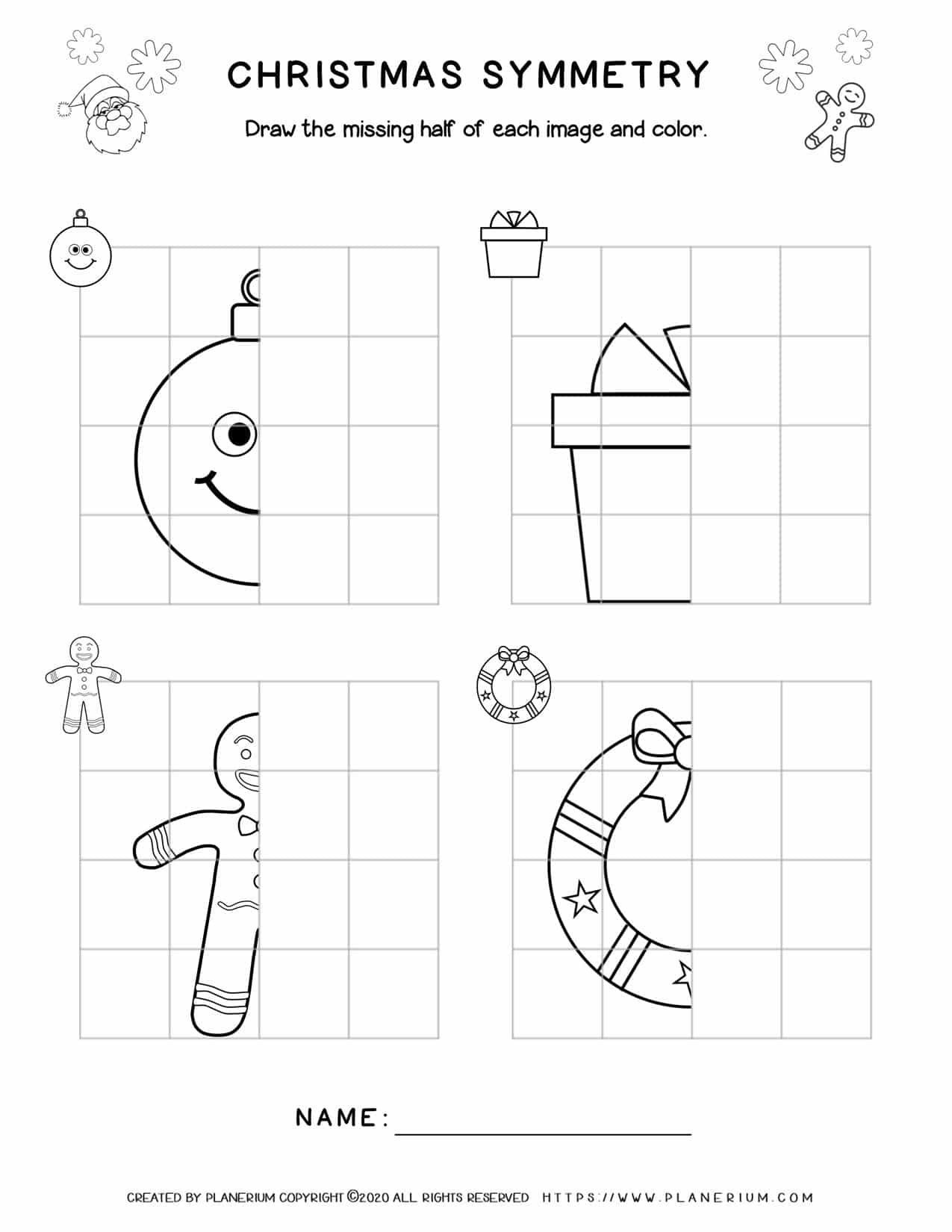 Christmas Worksheets - Symmetry Drawing | Planerium