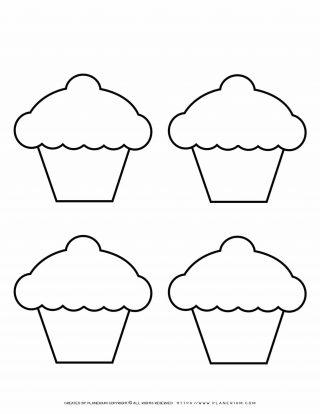 Four Cupcakes Outline | Planerium