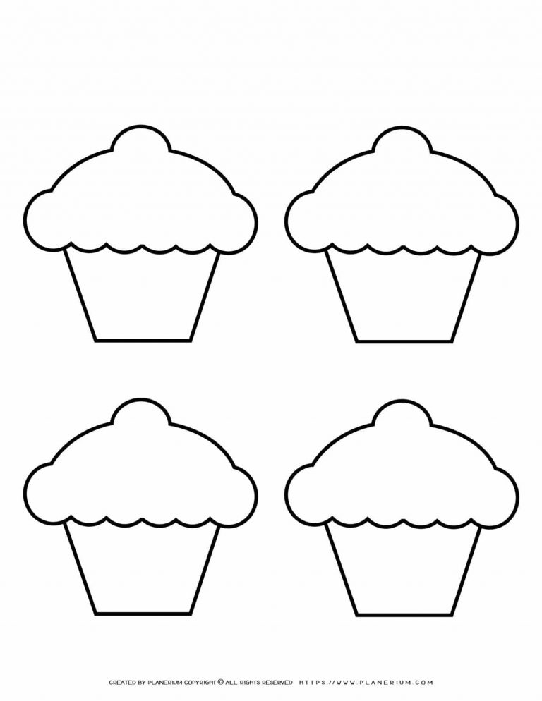 Four Cupcakes Outline | Planerium